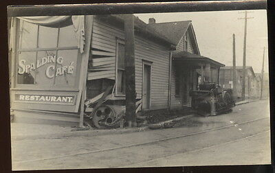 Early Rppc Spalding Cafe, Restaurant, Damage From Steam Roller Accident