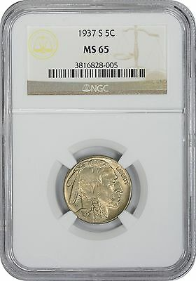 1937-S Buffalo Nickel MS65 NGC Mint State 65