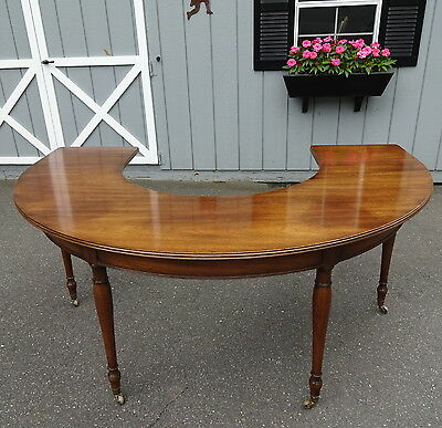 "19th Century English Regency Curved Hunt Board Table 70"" Wide Solid Walnut"