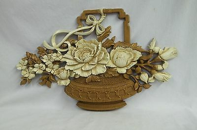 Vintage Syroco Homco Basket Of Flowers Wall Hanging 7605