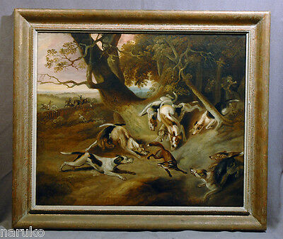 """""""DOGS ON A FOXHUNT"""" EARLY 19thC OIL PAINTING PHILIPP REINAGLE BRITISH 1749-1833"""