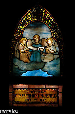"SIGNED TIFFANY STAINED & LEADED GLASS WINDOW ""THREE ANGELIC CHORISTERS"" w/JEWELS"