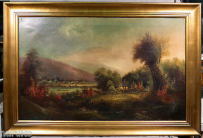 WAS 16K LANDSCAPE O/C PAINTING 19thC BY ALFRED FITCH BELLOWS HAD RESTORATIONS