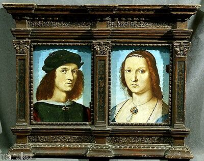 WoW 17 to18thC OIL ON PANELS COPY OF OLD MASTERS  DONI PORTRAITS in PERIOD FRAME