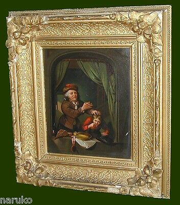 "18th-19thC DENTIST PAINTING of TOOTH EXTRACTION ON BOY ""SCHOOL OF GERRIT DOU"""