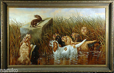 "C.1890 OTTERHOUND PAINTING 30""x50"" DOGS TRAPPING OTTER SIMILAR PAINT BROUGHT 11K"