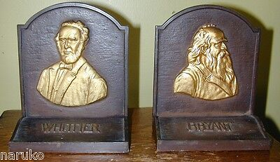 Bradley & Hubbard Bookends Of Great Poets Heavy W/ Busts Of Bryant & Whittier
