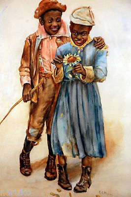 YOUNG BOY with HIS GIRLFRIEND - ANTIQUE WATERCOLOR  WELL DONE  PAINTING SIGNED