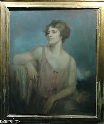 Beautiful Well To Do  Lady Pastel By  Listed Artist Robert Lewis Reid 1862-1929