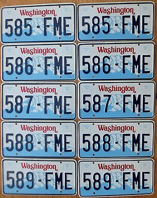 Ten Washington Rainier Base Plates Number Tag Plate Lot