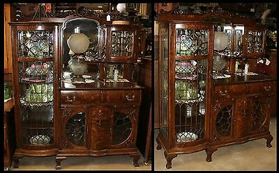 Ornate Carved Beveled Glass & Mirrors China Sideboard Buffet Tiger Oak Antique
