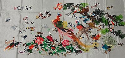 Handwoven Silk Chinese Embroidery - 100 Birds (200 cm x 93 cm) #1