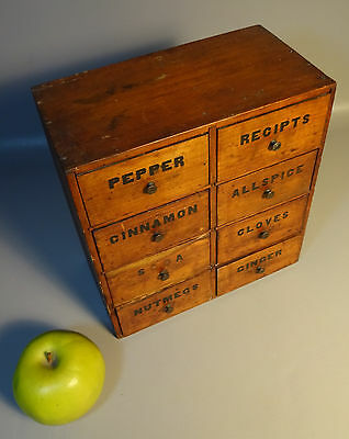 Country Store Pine Spice Cabinet w/ 8 Wood Drawers 19th Century American AAFA