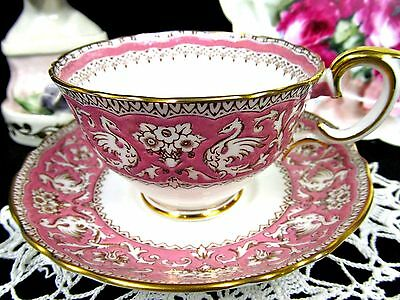 Crown Staffordshire Tea Cup And Saucer Ellesmere Pink Teacup Pattern Painted