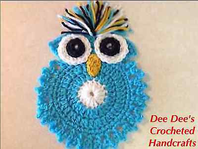 Hand Crocheted Turquoise Owl Coffee Coaster, Trivet, Wall Hanging, Large