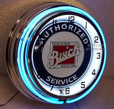 """18"""" BUICK Authorized Service Sign Double Neon Clock Wildcat 225 Grand National"""