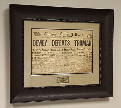 Dewey Defeats Truman Original & Authentic Newspaper Framed