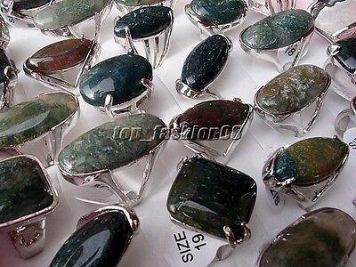 Hot 20Pcs Mixed Lots silver P Natural Agate gemstone Rings Jewelry Wholesale