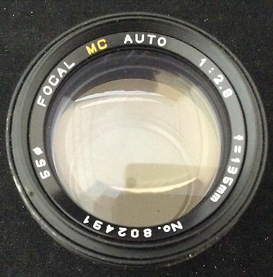 Focal MC Auto 1:2.8 f = 135mm Telephoto Camera Lens with Covers Made in Japan