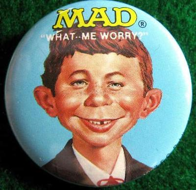 """MAD MAGAZINE """"WHAT ME WORRY?"""" Promo Pinback Button 1987"""