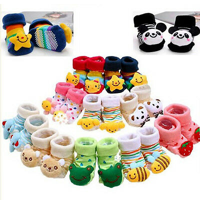 Newborn Baby Girl Boy Unisex Infant Lovely Cute Anti-slip Socks Animal Boots