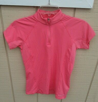 NWT NOBLE OUTFITTERS GWEN SZ SM S/S Zip Mock Neck Technical Shirt Vivacious Pink