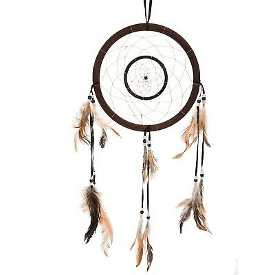 "21"" Traditional Brown Dream Catcher with Feathers Wall or Car Hanging Ornamen..."