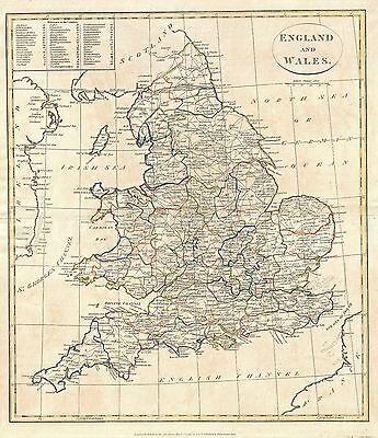 Map of England & Wales Clement Cruttwell 1799 , Reprint 9x8 Inch