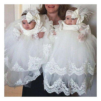 2017 Baby Baptism Dresses White Ivory Christening Gown Lace Applique Hot Selling
