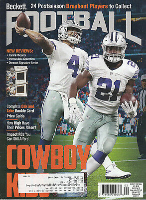 Beckett Football Card Monthly Price Guide Feb 2017 Zeke & Dak Cover