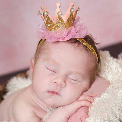 Kids Girl Baby Toddler Shiny Crown Headband Princess Hair Clip Lace Hair Band SK