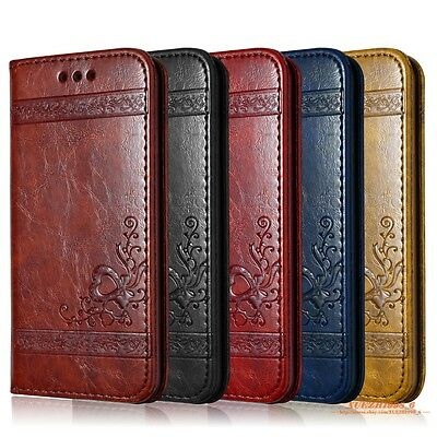 Luxury Wallet Flip Vintage PU Leather Case Flip Cover For iPhone Samsung Galaxy