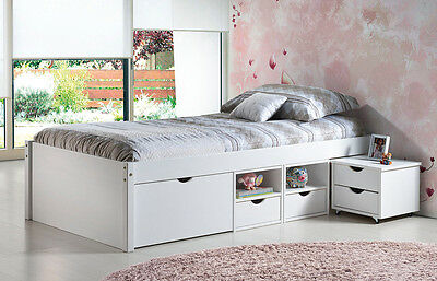 bett bettgestell 140 x 200 massivholz wei lackiert stauraum neu ovp eur 469 00. Black Bedroom Furniture Sets. Home Design Ideas