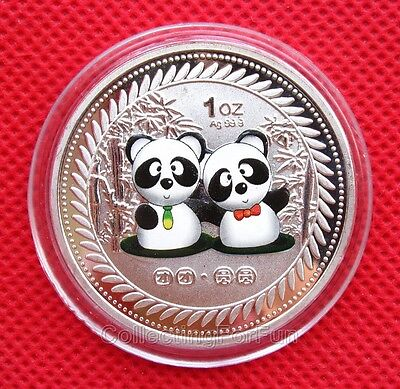 "Lovely Couple Chinese Panda ""Tuantuan Yuanyuan"" Colored Commemorative Coin Token"