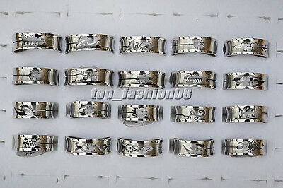 Wholesale Lots 30pcs Stainless Steel Cut-Out Mixed Pattern Jewelry Band Rings
