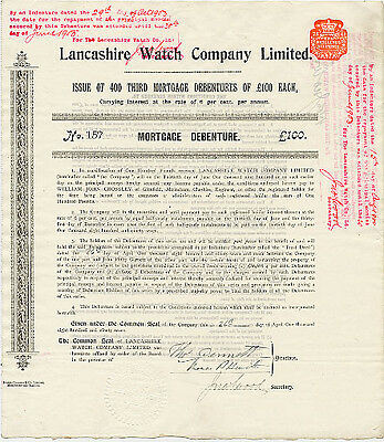 Lancashire Watch Co. Ltd., £100 6% mortgage debenture, 1897