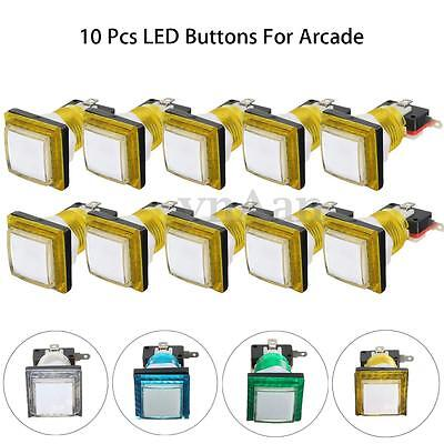 10 Pcs Lot 34mm LED Illuminated Square Push Start Buttons Switch For Arcade DIY