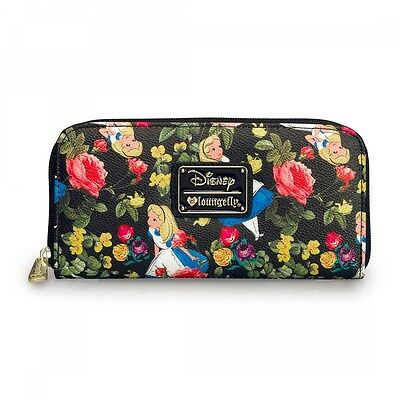New LOUNGEFLY DISNEY Ziparound Wallet ALICE IN WONDERLAND Faux Leather FLORAL