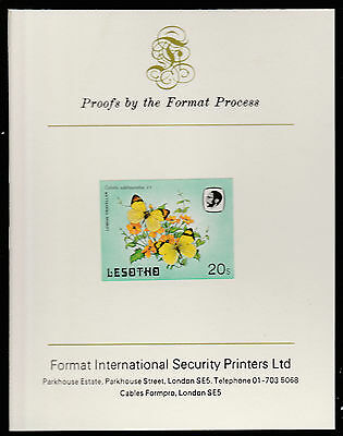 Lesotho (594) 1984 Butterflies 20s imperf on Format International PROOF  CARD
