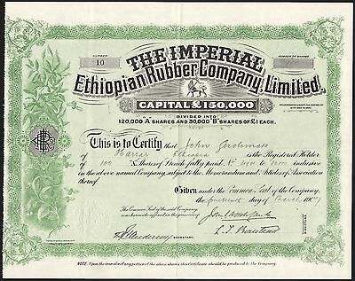 Imperial Ethiopian Rubber Co. Ltd., £1 'A' shares, 1907, Waterlow