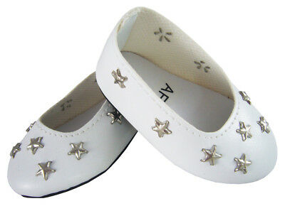 """White Star Ballet Flats Shoes made for 18"""" American Girl Doll Clothes"""