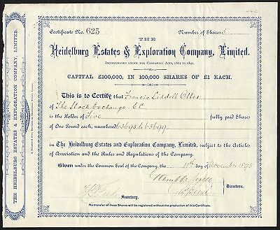 South Africa; Heidelburg Estates & Exploration Co. Ltd., £1 shares, 1895