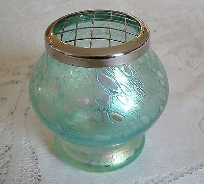 Heron Glass? Green Iridescent Small Rose Bowl With Metal Stem Holder Cover.