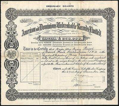 American & Dominions Unbreakable Records Ltd., 10/- ordinary shares, 1929