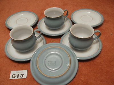 3 DENBY COLOROLL COLONIAL BLUE CUPS & 6 SAUCERS in superb excellent condition
