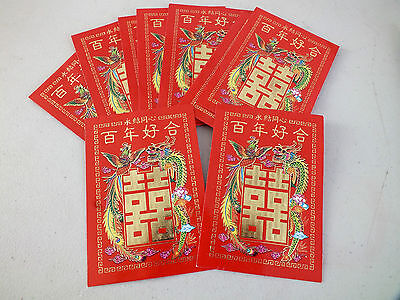 120 Chinese Red Dragon Phoenix Love & Happiness Envelope Wedding New Year Party