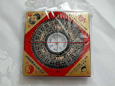 Chinese Red Black Small Wooden Compass Lo Pun Feng Shui Equipment Direction Tool