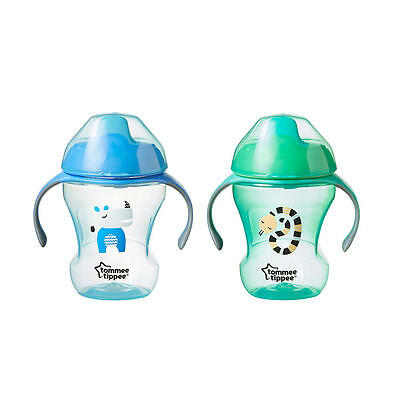 New Tommee Tippee 2 Pack 8 Ounce Trainer Sippy Cup - Blue and Green