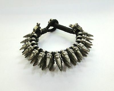 Antique Collectible Ethnic Tribal Old Silver Spiky Bracelet Bangle Belly Dance