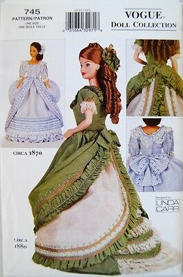 "Vogue Pattern 7398 745 7557 799 608 11.5"" Fashion Doll Clothes Vintage Victorian"